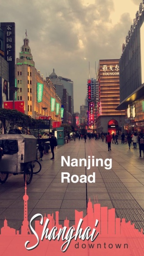 Nanjing road starting to light up in the evening
