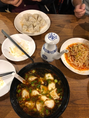 Dumplings in soup (Main Tang) at one of our favorite places so far. We call it the Terracotta place because there replica mini terra-cotta warriors when you walk in under the floor. The site director treated us to lunch here this day.
